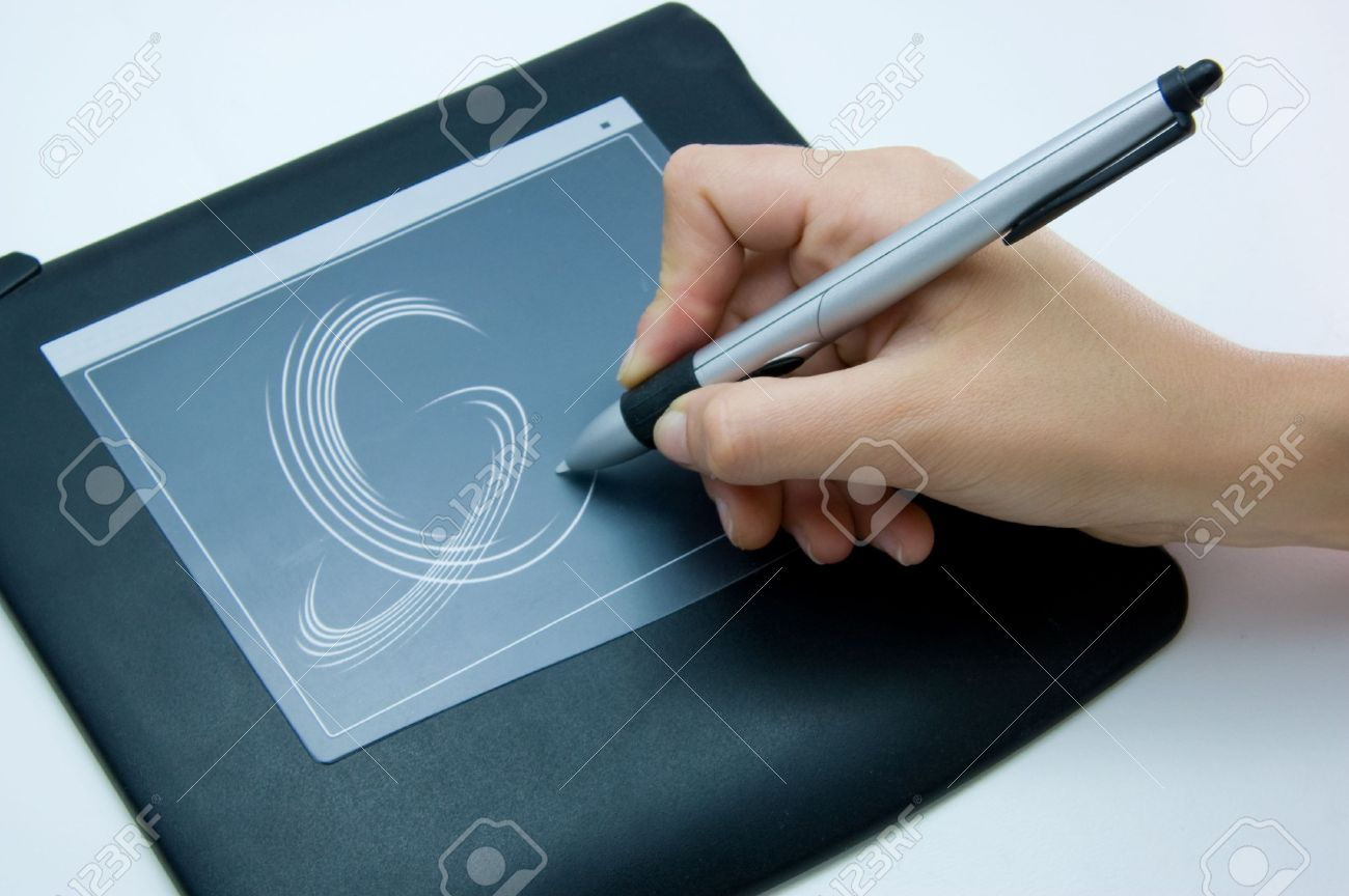 1300x864 Designer Is Using A Digital Drawing Pad For Her Computer Stock