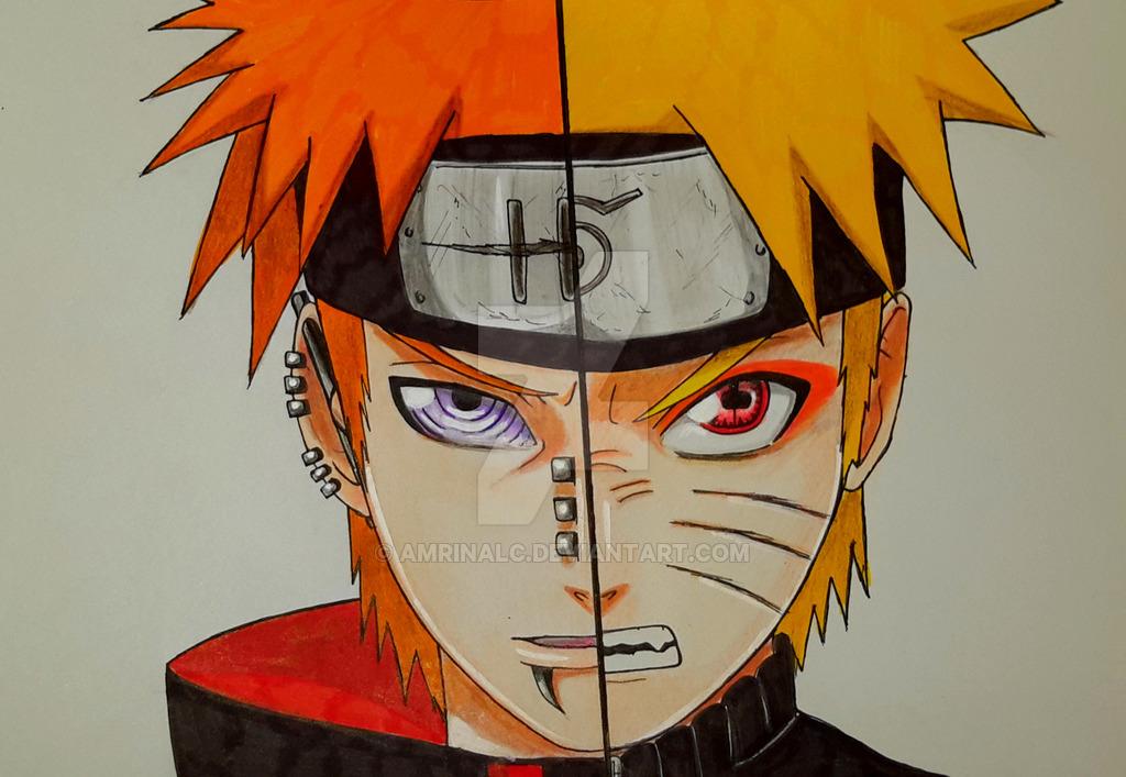 1024x707 Naruto Vs Pain By Amrinalc