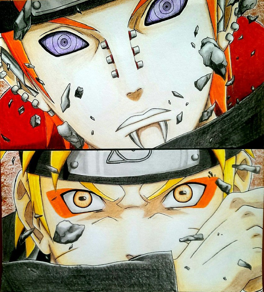 849x941 Naruto Vs. Pain (Nagato) By Ajkasketch