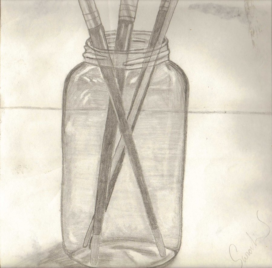 899x888 Just A Sketch Jar And Paint Brush By Isaidsaywhat