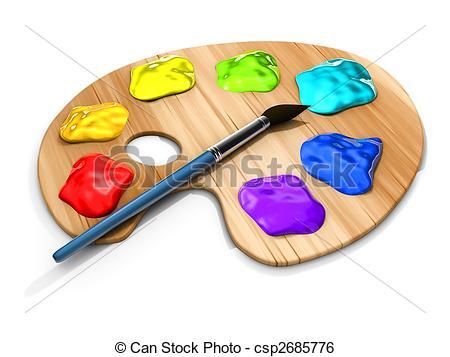 450x357 Paint Pallete. Spots Of Paint And Brush On Paint Palette