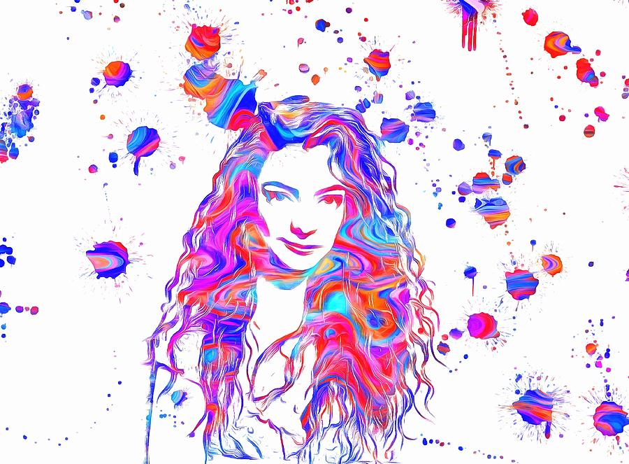 900x663 Lorde Colorful Paint Splatter Painting by Dan Sproul