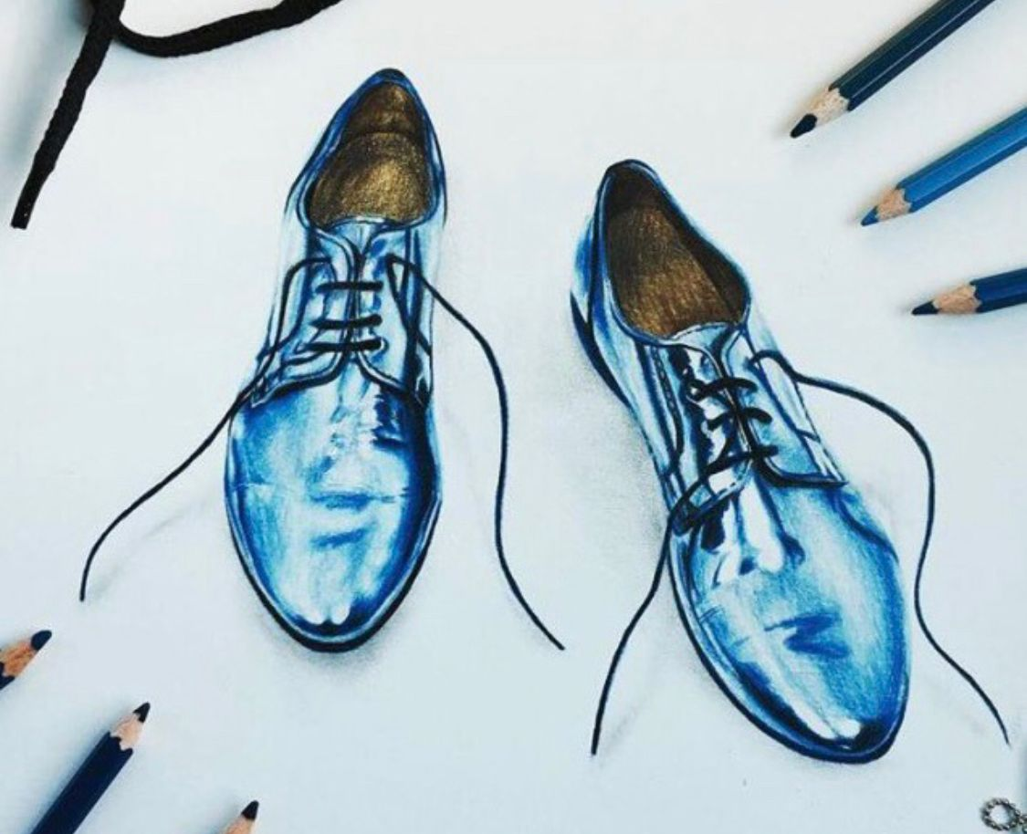 1125x914 Colored Pencil Drawing Of A Pair Of Shoes Shoe Illustrations