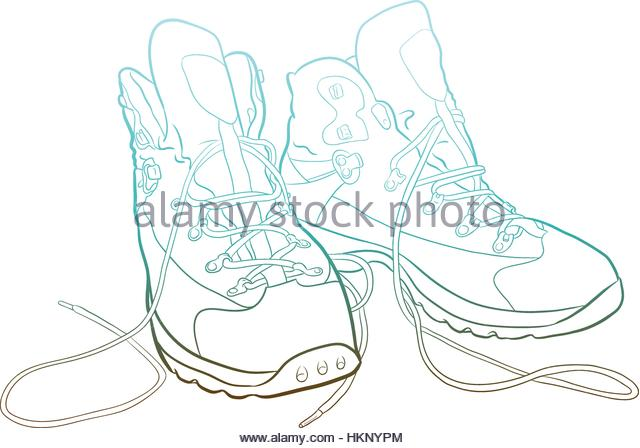 640x448 Hiking Shoes Pair Drawing Stock Photos Amp Hiking Shoes Pair Drawing