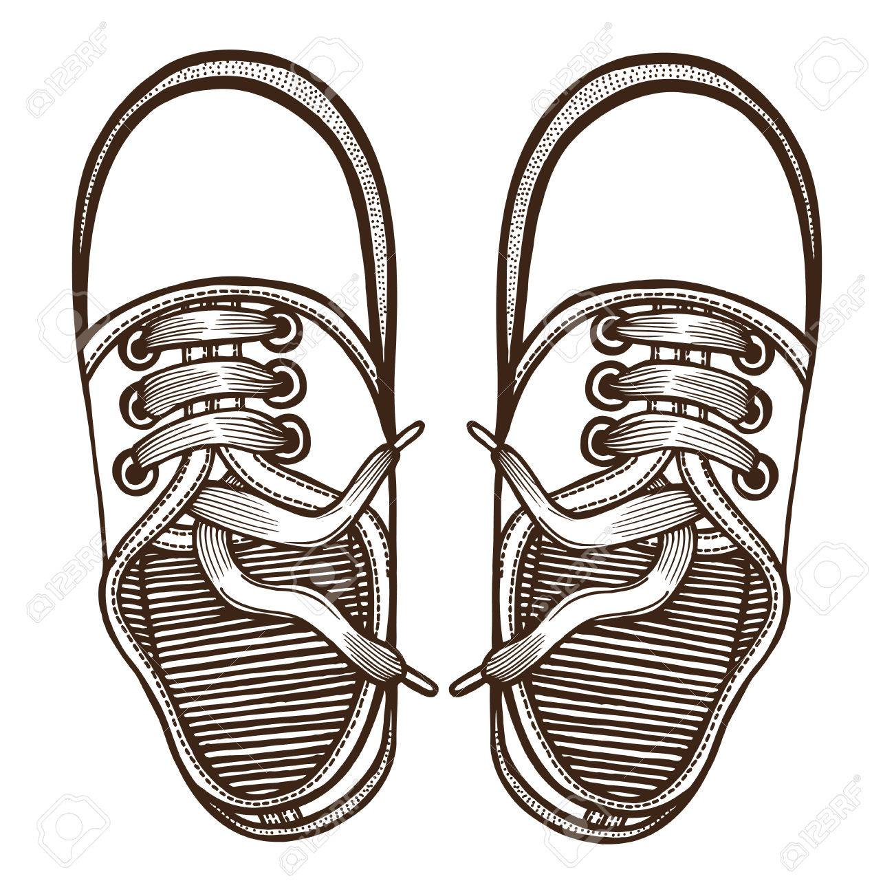 1300x1300 Vector Sketch Illustration, Pair Of Skaters Shoes. Top View
