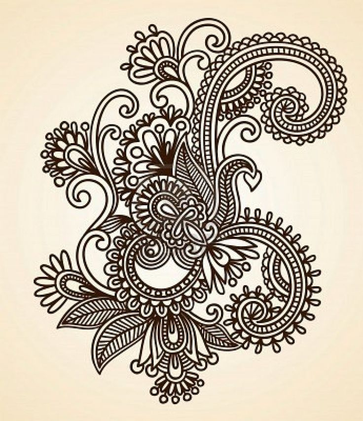 736x853 11189142 Hand Drawn Abstract Henna Mendie Flowers Doodle Vector