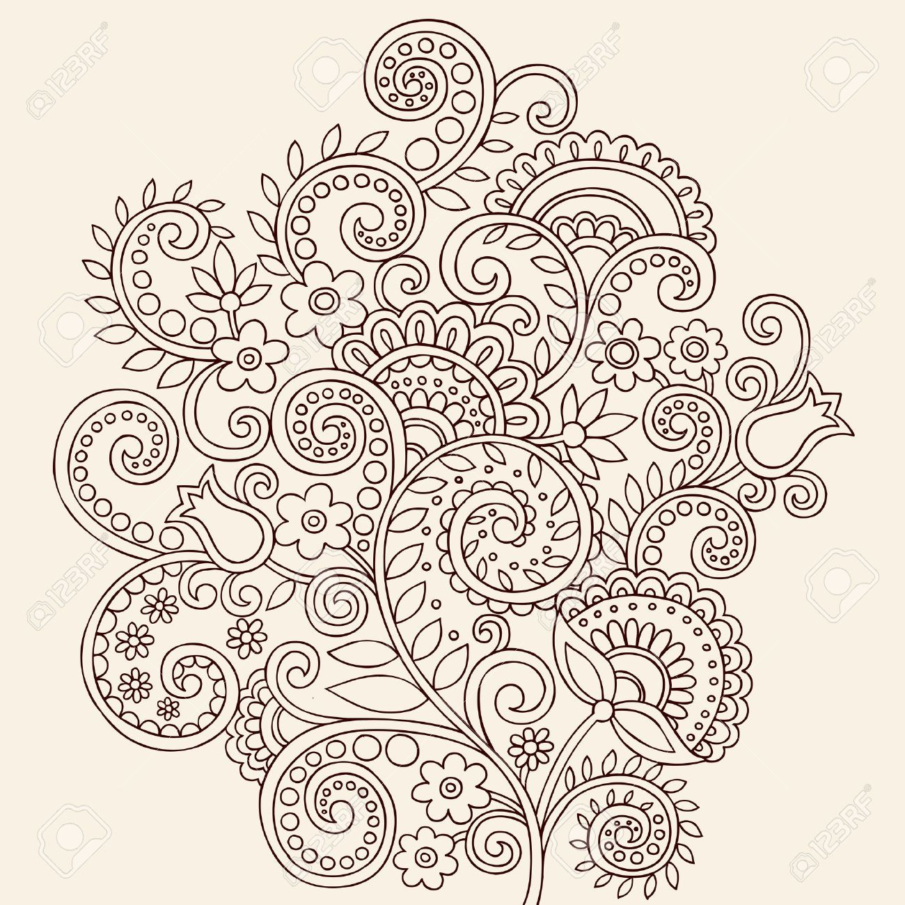 1300x1300 Hand Drawn Henna Mehndi Tattoo Flowers And Paisley Border Doodle