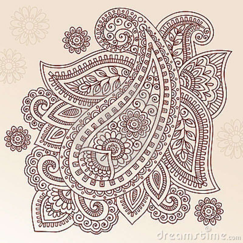 800x800 Ornate Henna Paisley Doodle Vector Design Elements Wall Mural