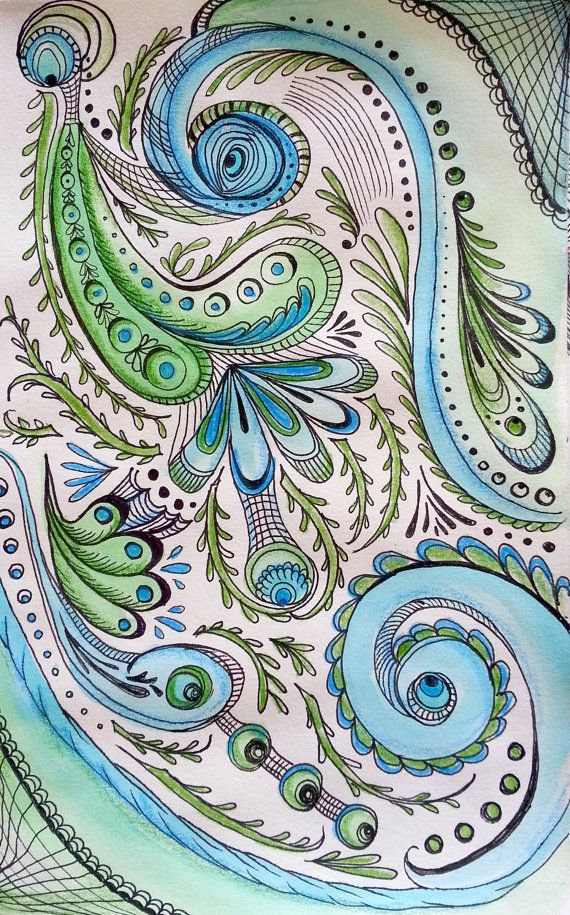 570x915 Paisley Peacock!!! How Gorgeous! Tumblr Paisley Pattern Drawing