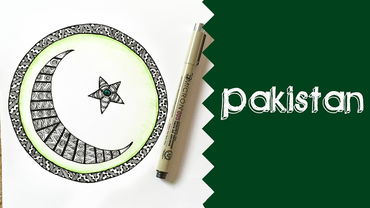 1280x720 Drawing Of Pakistani Flag Pakistan Flag With Patterns