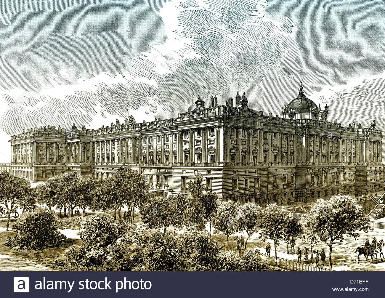 1300x1006 Historic Drawing, Royal Palace Of Madrid, Palacio Real, Madrid