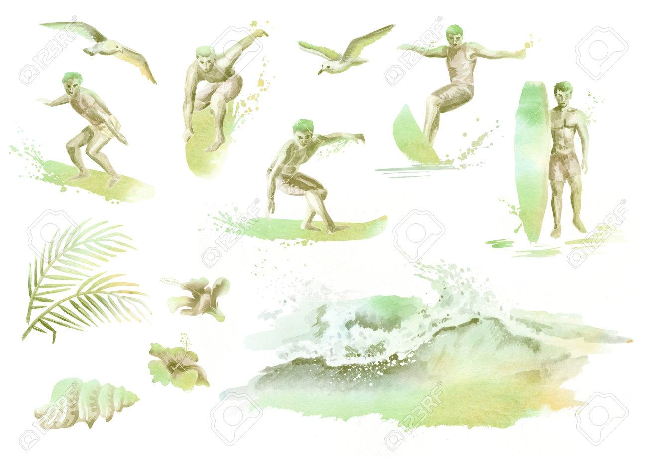 1300x918 Big Hand Drawn Watercolor Silhouette Set With Young Surfers