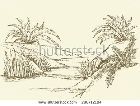 450x341 Drawn Palm Tree Scenery