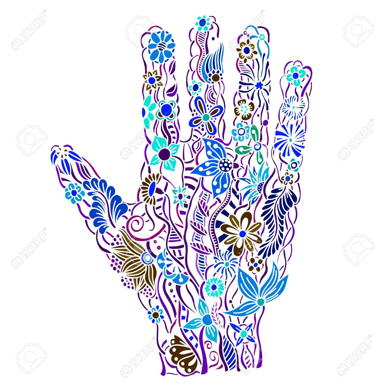 1300x1300 Human Hand Of The Beautiful Painted Flowers. Floral Palm, Hand