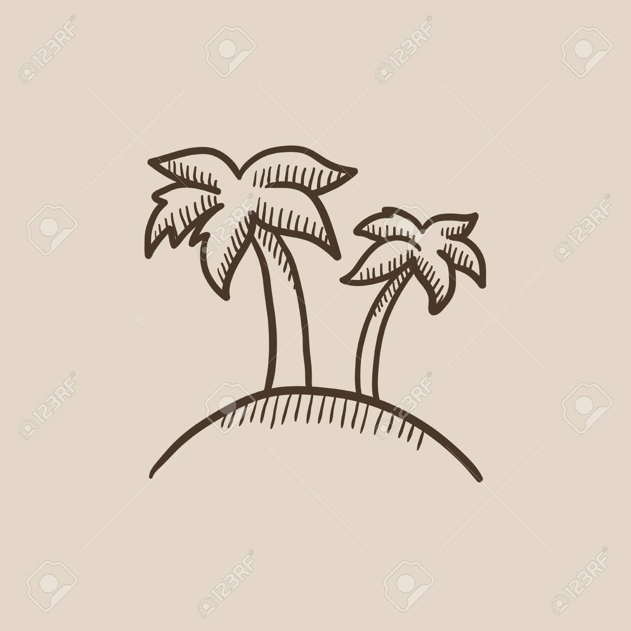 1300x1300 Two Palm Trees On An Island Sketch Icon For Web, Mobile