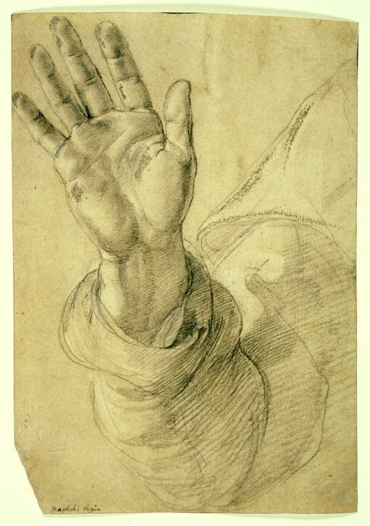 541x768 Upraised Right Hand, With Palm Facing Outward Study For Saint