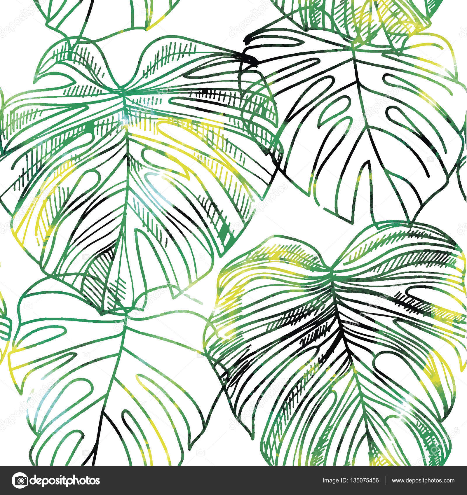 1600x1697 Seamless Pattern With Leaves Of Tropical Plants Vector Freehand