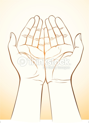 353x484 Palm Up Hand Drawing