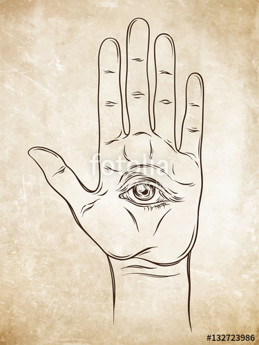 375x500 Spiritual Hand With The Allseeing Eye On The Palm. Occult Design