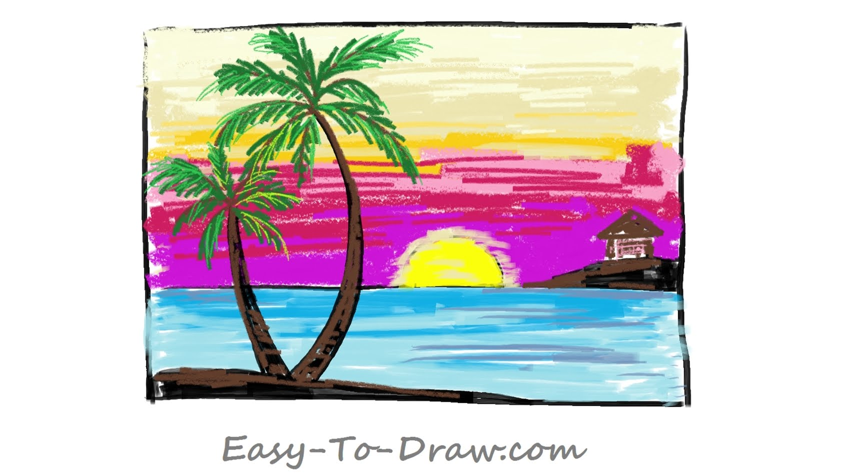 1687x950 How To Draw A Cartoon Seaside Sunset With Coconut Trees Step By
