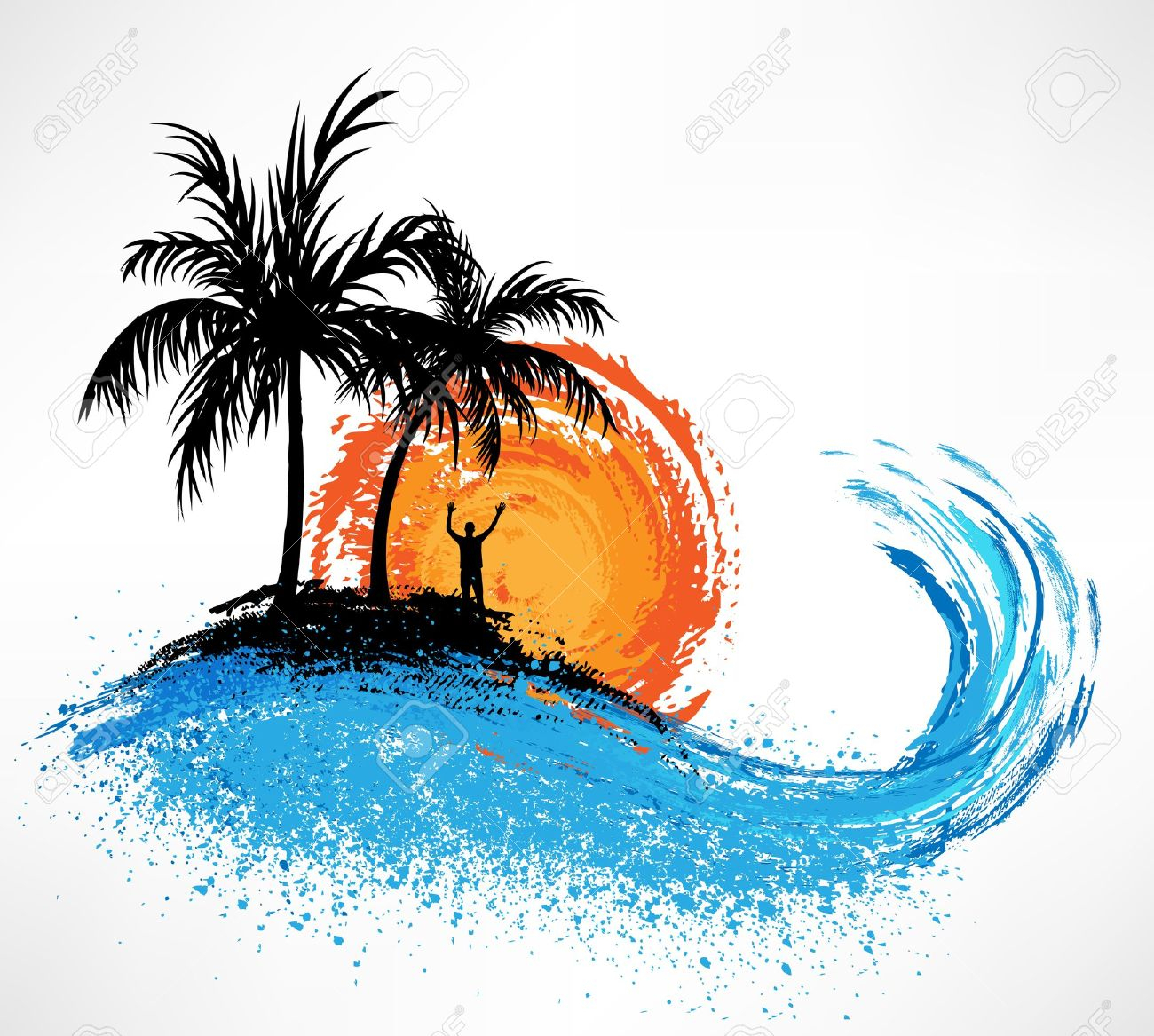 1300x1167 Palm Tree Beach Drawing Palm Trees And Ocean Wave. Sunset Royalty