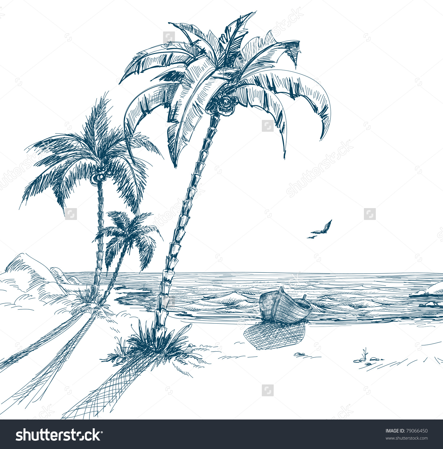 1500x1521 Palm Tree Beach Drawing Summer Beach Palm Trees Seagulls Boat