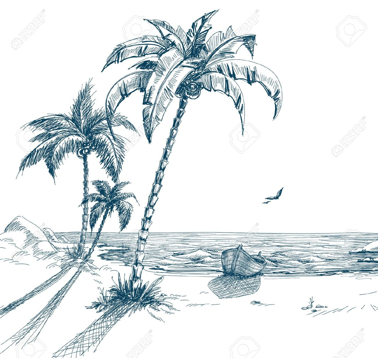 palm tree beach drawing at getdrawings com free for personal use