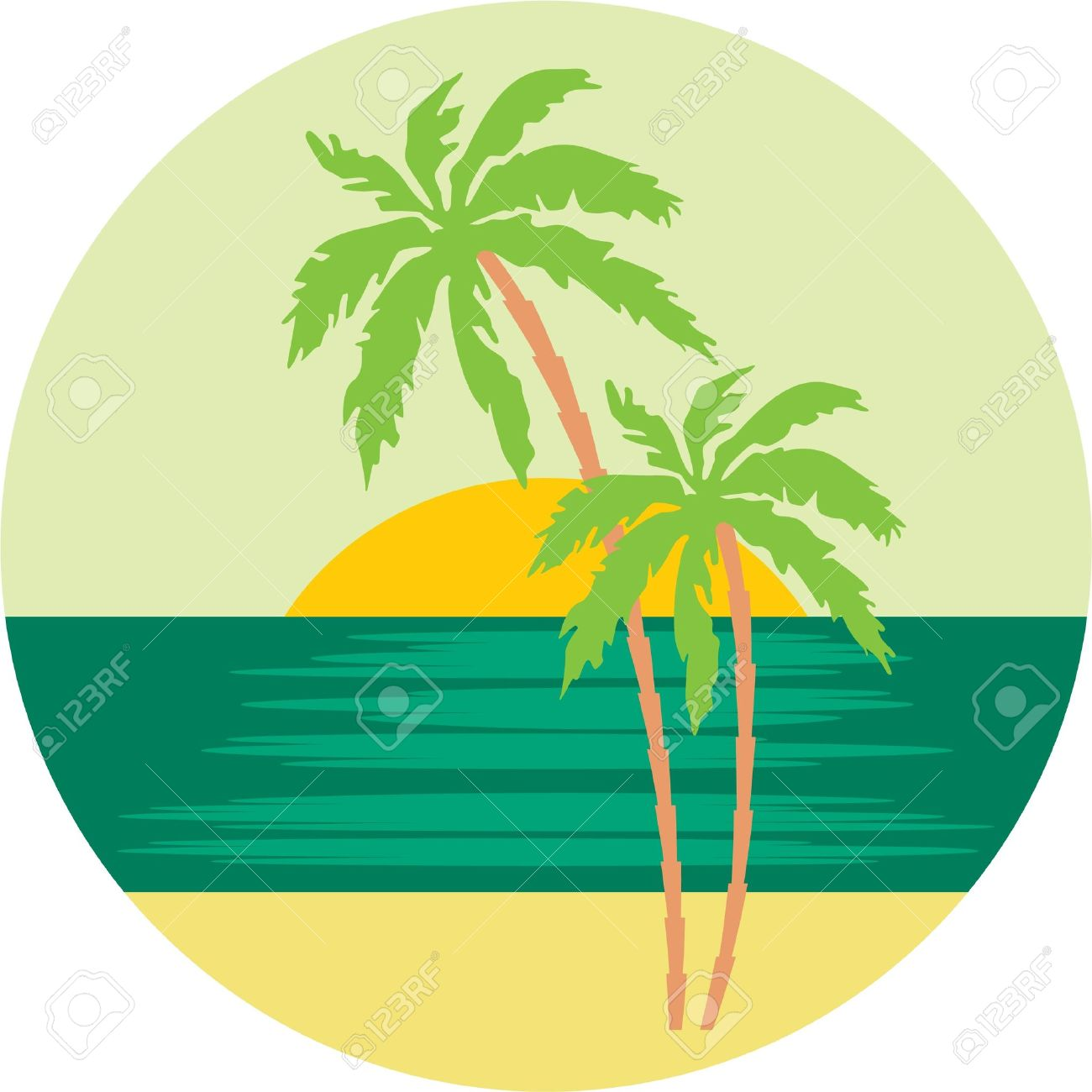 1300x1300 Tropical Beach With Palm Trees. Royalty Free Cliparts, Vectors