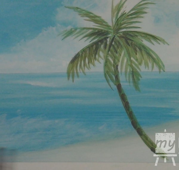 600x570 Acrylic Seascape Painting Lesson (Pt 2) How To Paint A Palm Tree