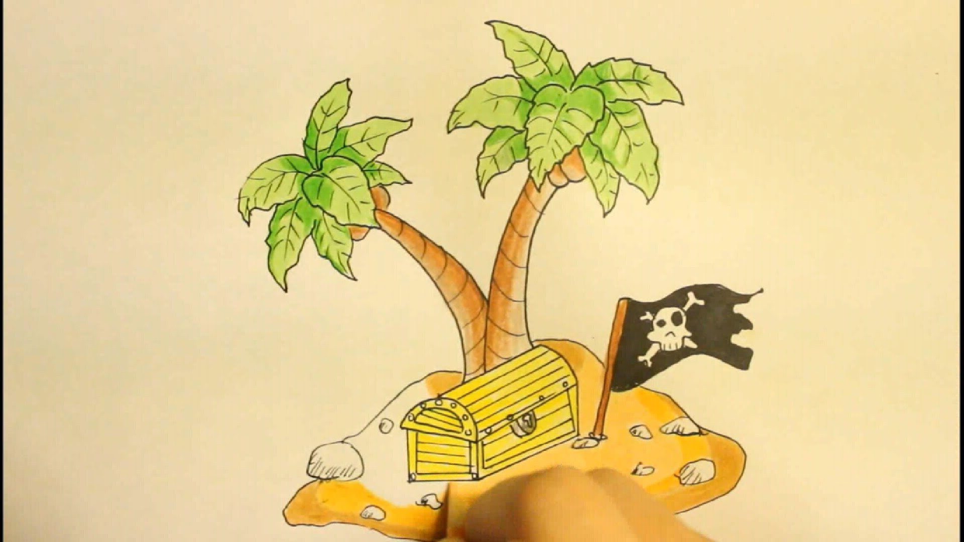 1920x1080 How To Draw A Island With Palm Tree And Treasure Box Easy Step By