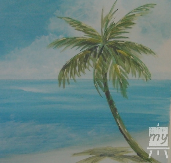 600x572 Acrylic Seascape Painting Lesson (Pt 2) How To Paint A Palm Tree