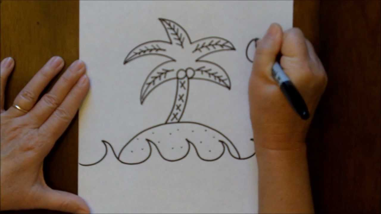1280x720 How To Draw An Island With A Palm Tree Step By Step