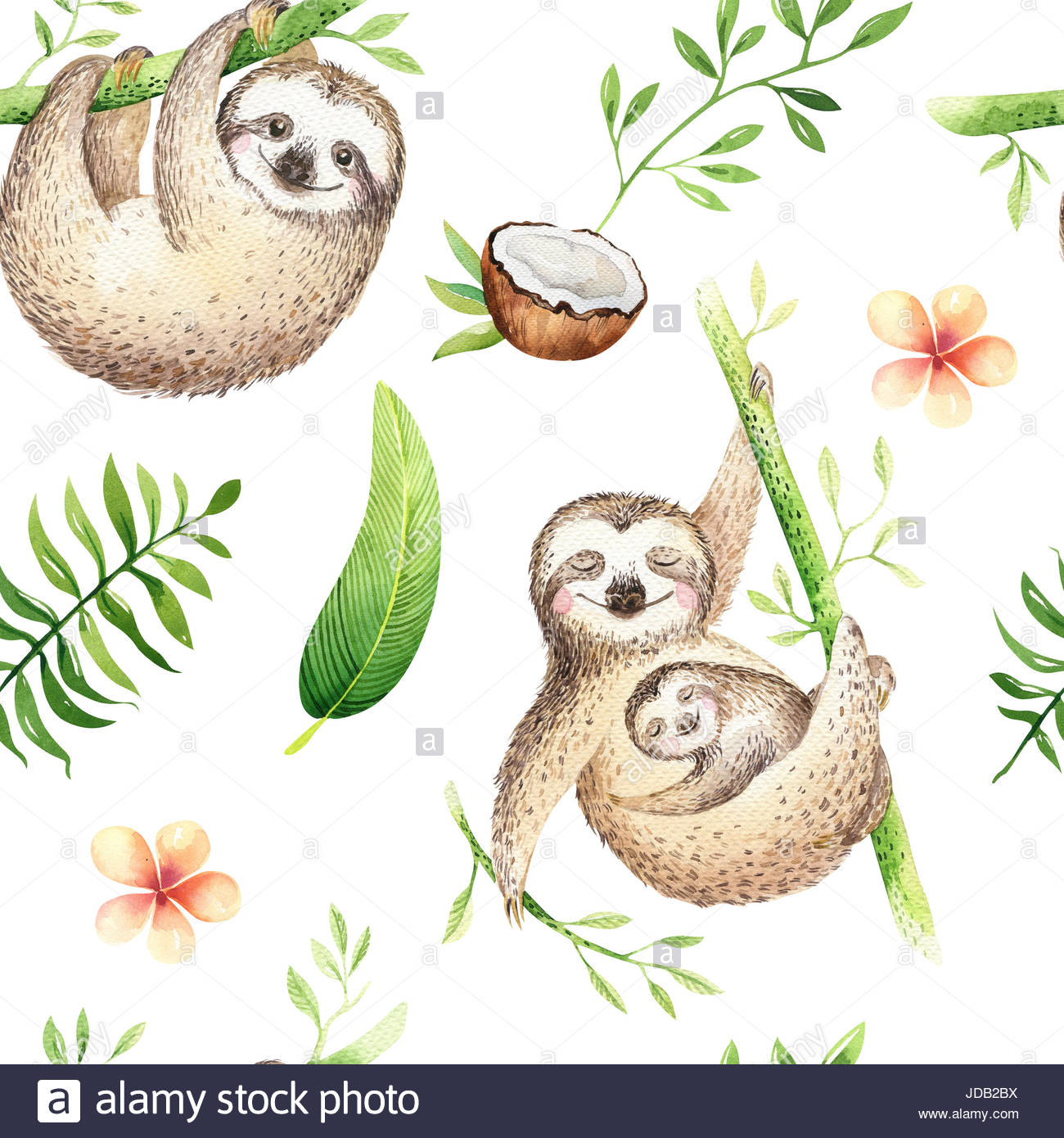 1300x1390 Baby Animals Sloth Nursery Isolated Seamless Pattern. Watercolor