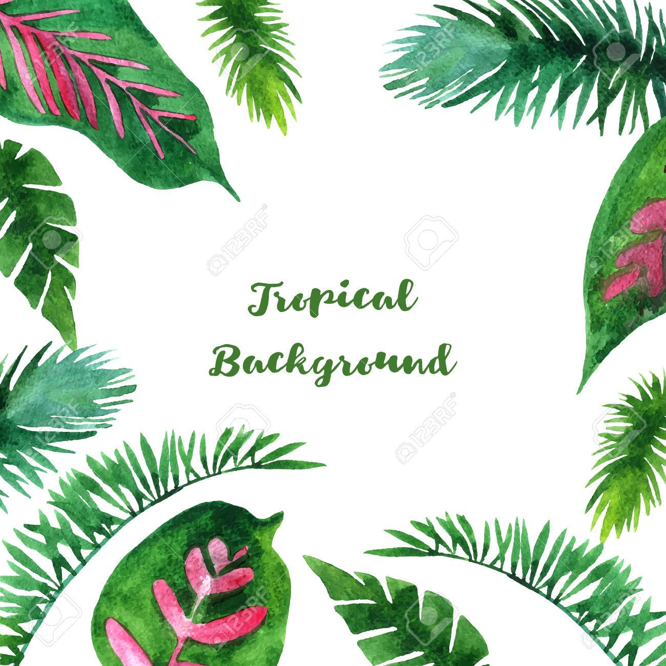 1300x1300 Background With Watercolor Green Leaves Of Palm Tree, Exotic