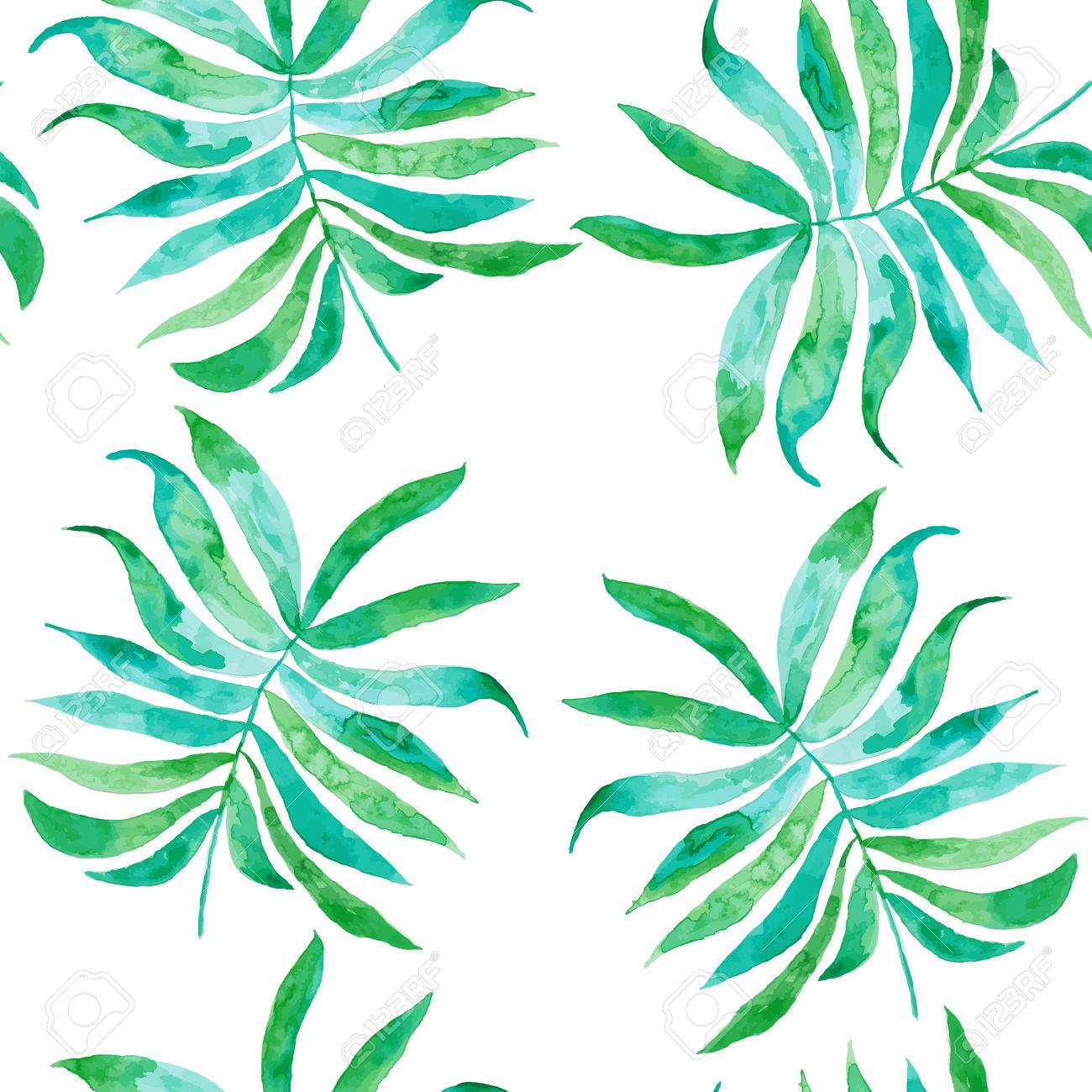 1300x1300 Watercolor Drawing, Palm Trees Or Green Leaves (Seamless Pattern