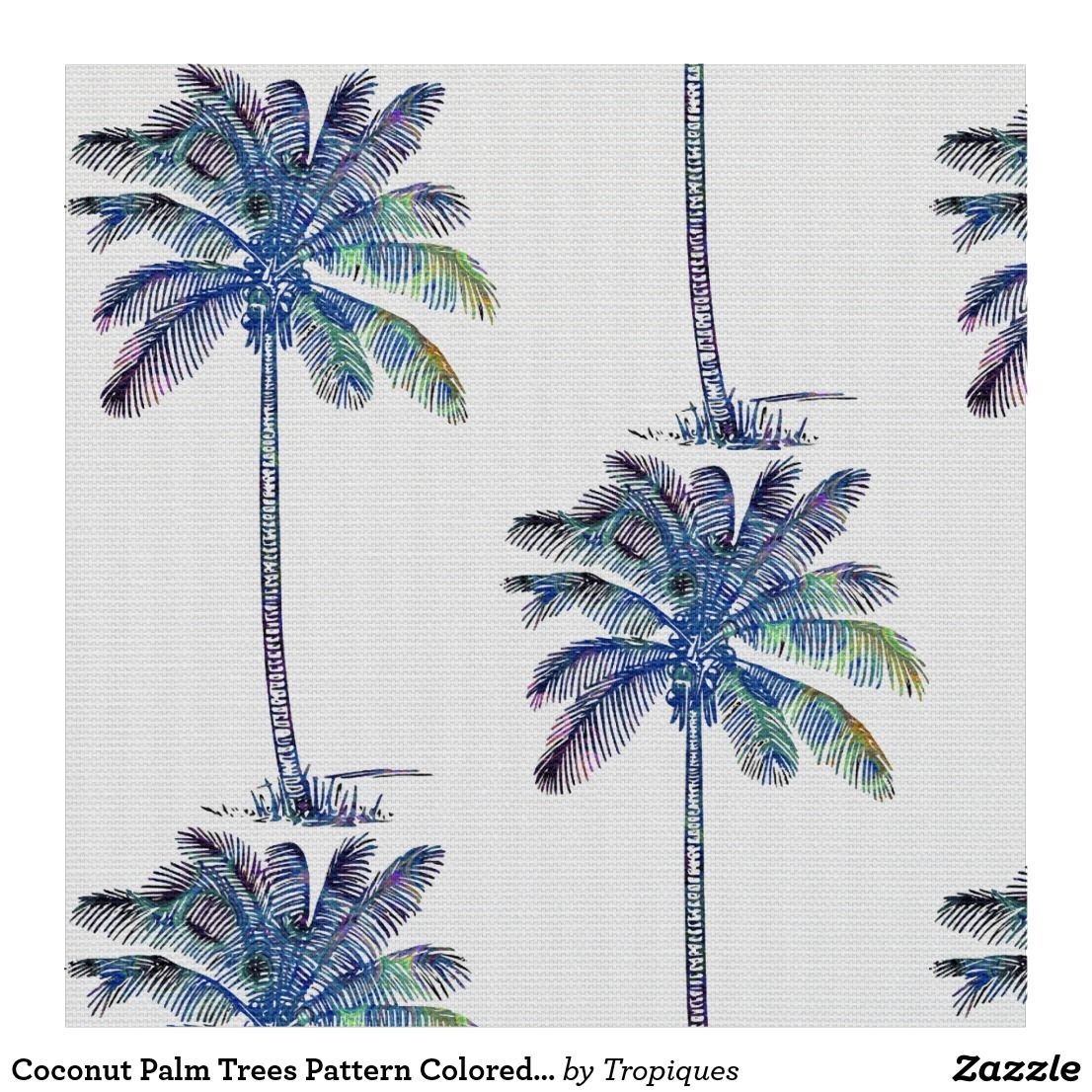 1106x1106 Coconut Palm Trees Pattern Colored Pencil Drawing Fabric Coconut
