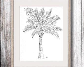 340x270 Palm Tree Drawing Original Pencil Sketch Tropical Artwork