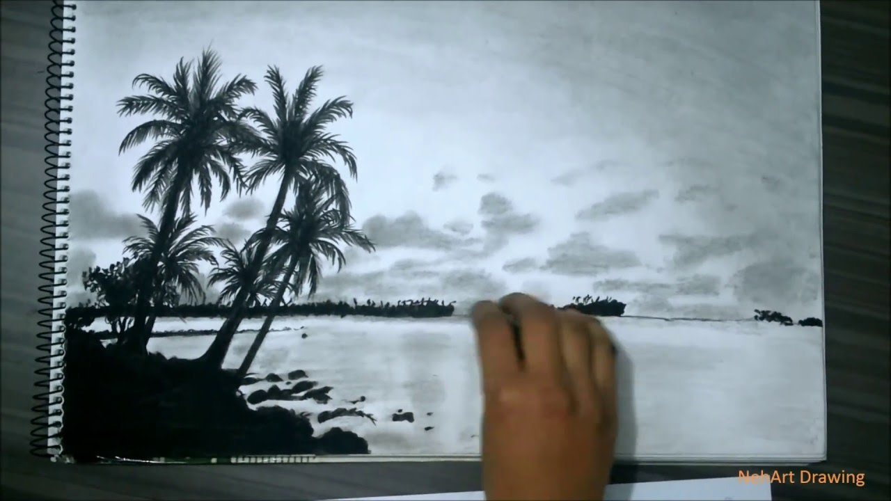 1280x720 Realistic Island Drawing With Pencil, Charcoal