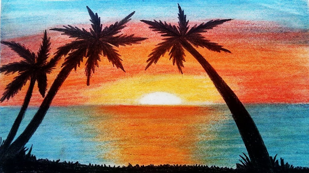 1280x720 How To Draw Sunset Scenery Step By Step With Oil Pastel