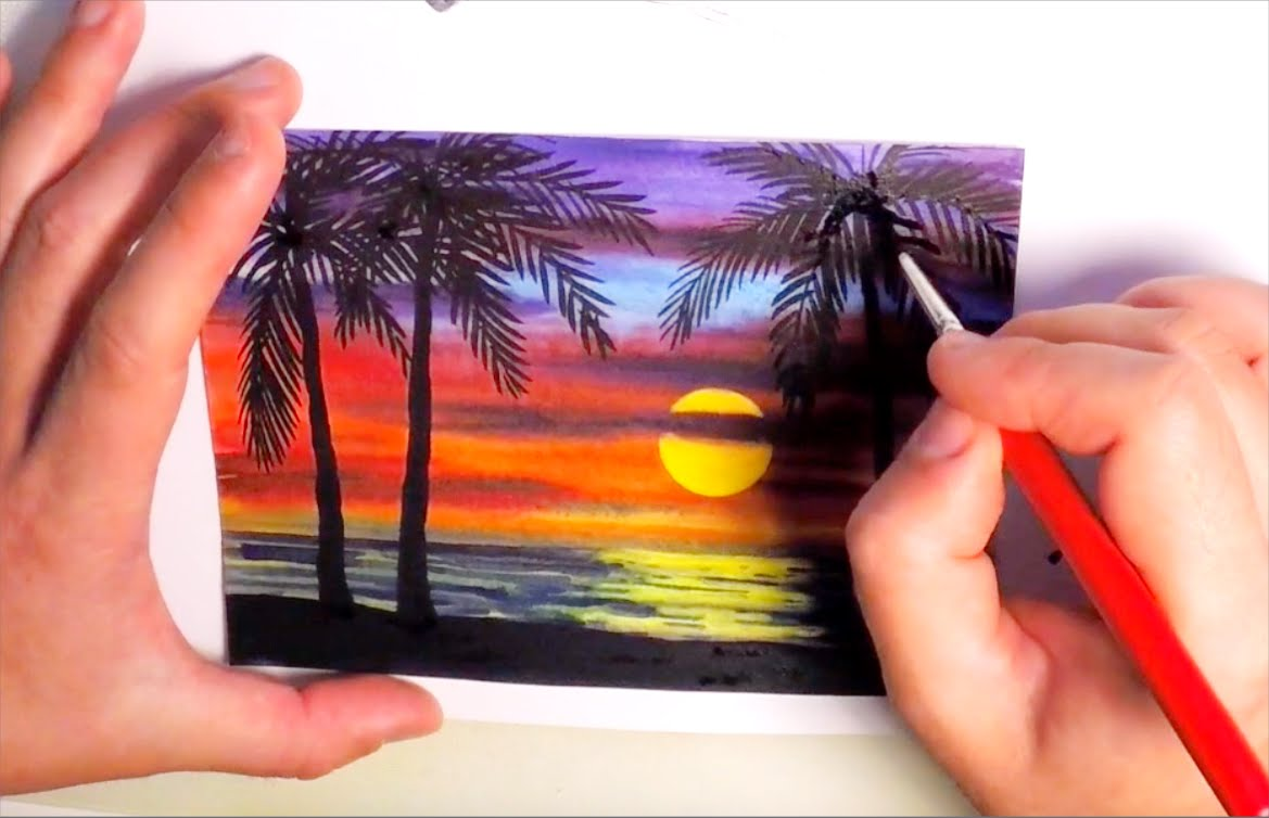 1169x754 Watercolor Painting Sunset With Palm Trees