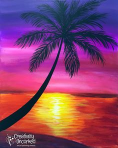 236x296 Large Zoom Image Paint Nite Palm, Sunset And City
