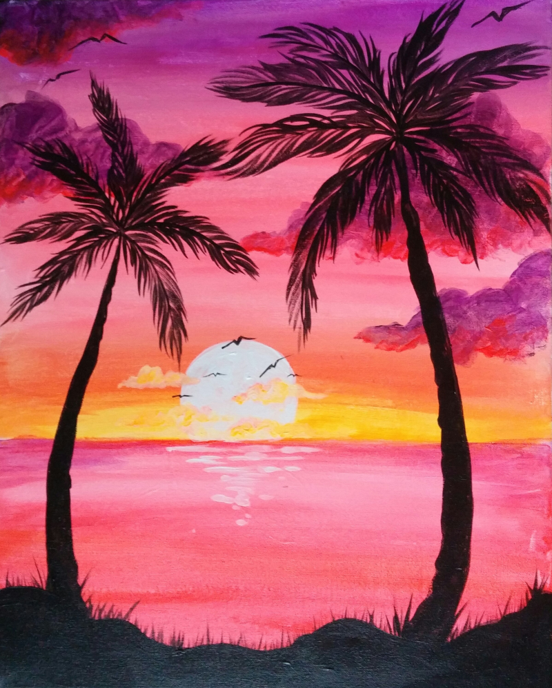 800x998 Large Zoom Image Paint Nite Palm, Sunset And City