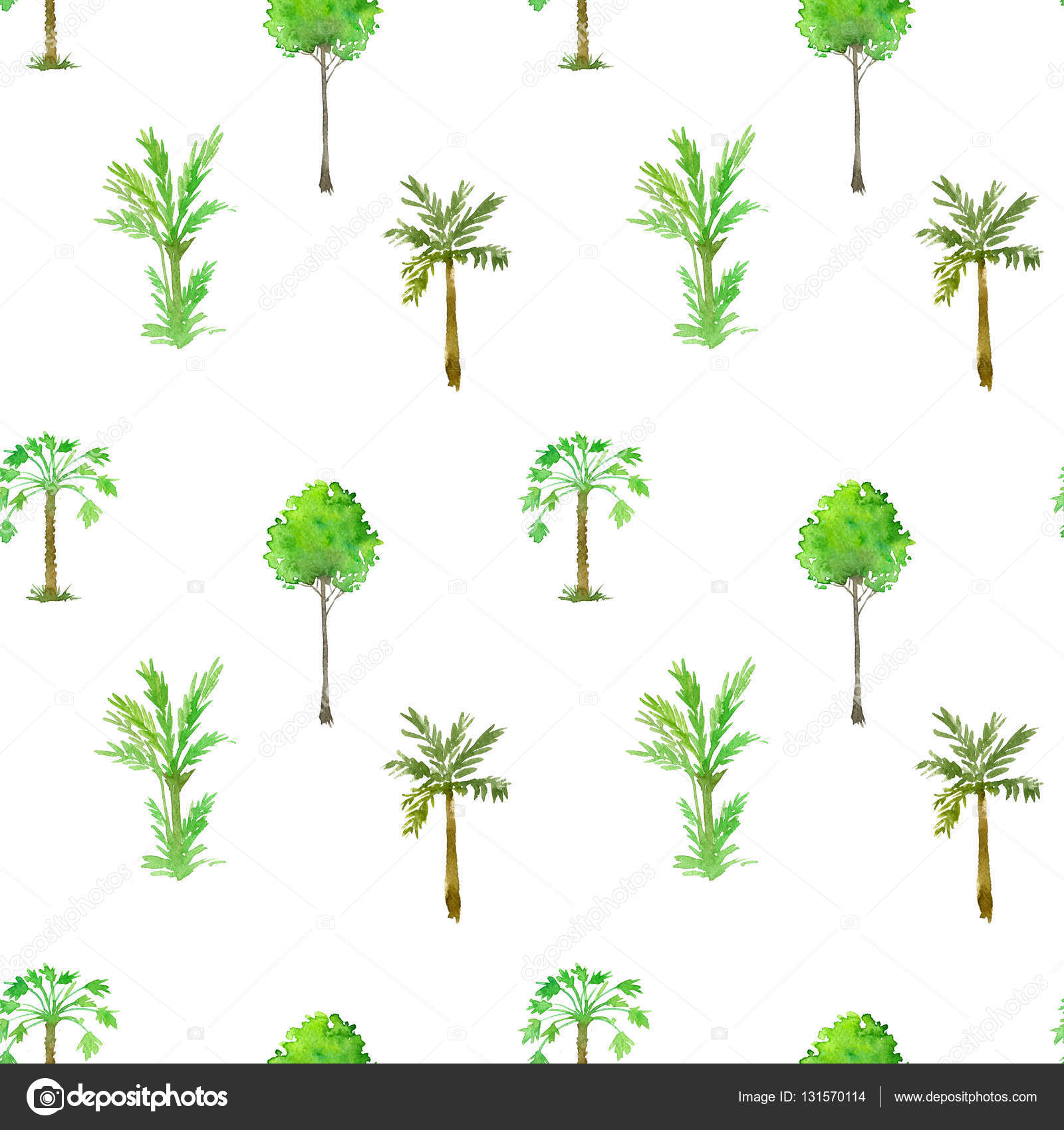 1600x1700 Seamless Pattern With Palm Trees Drawing By Watercolor Stock