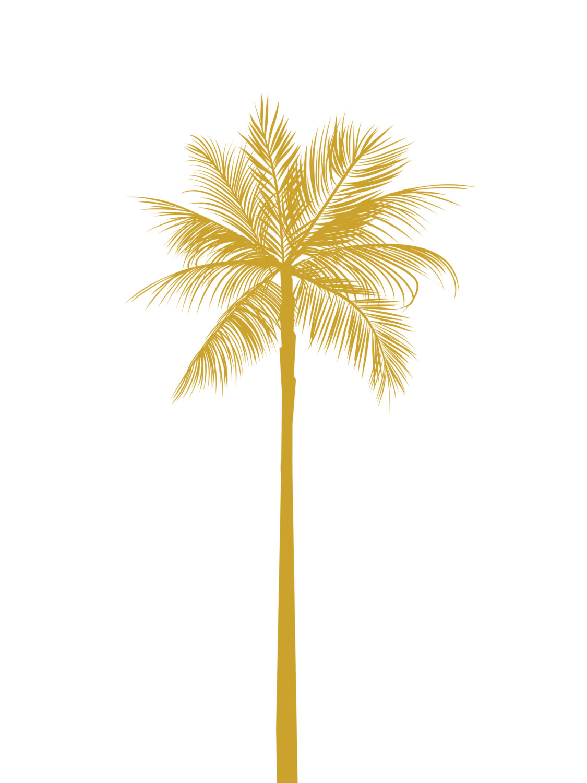 1125x1500 Gold Palm Tree Print, California Palm Tree, Mustard Yellow Palm