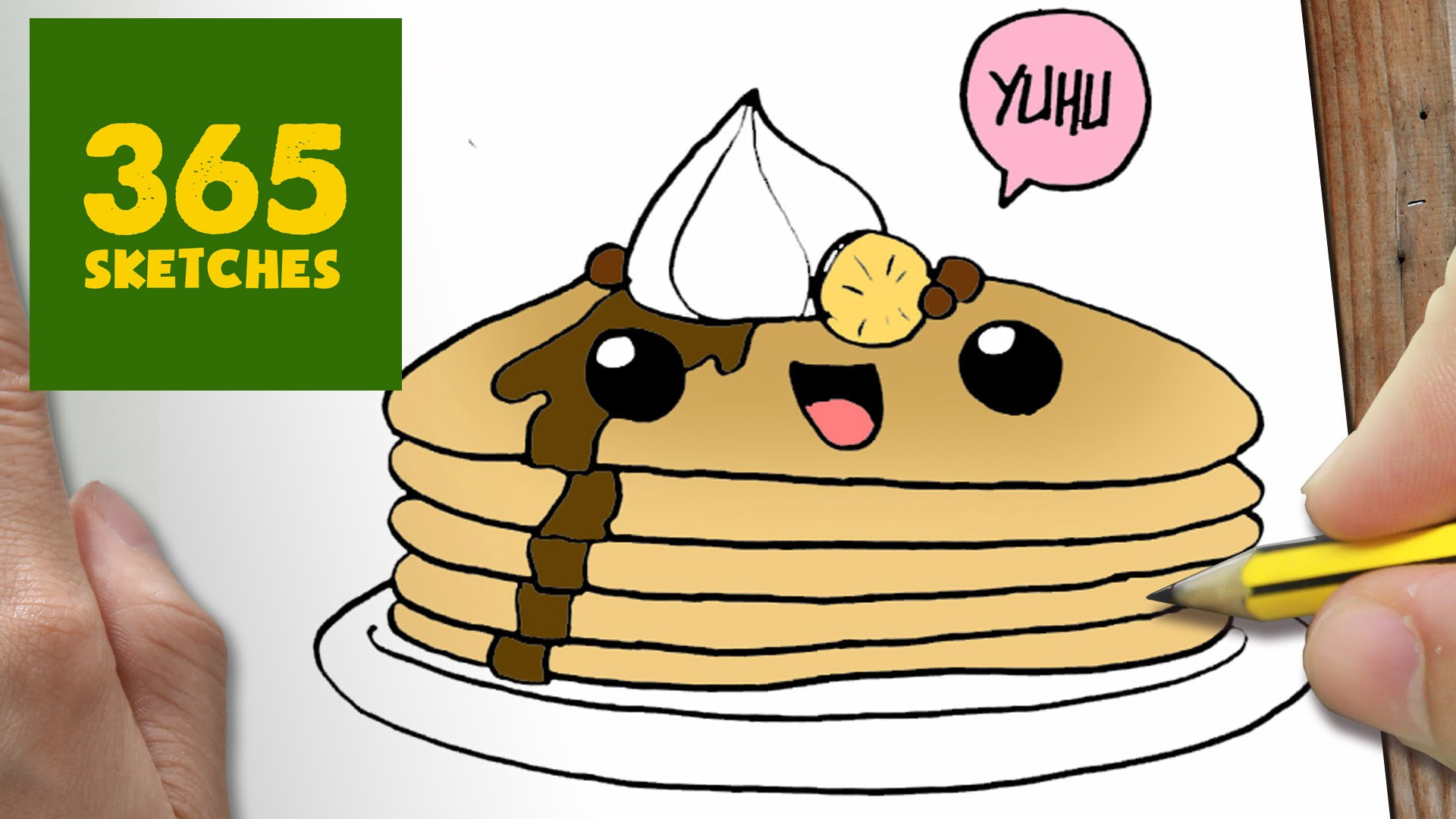 1920x1080 How To Draw A Pancake Cute, Easy Step By Step Drawing Lessons