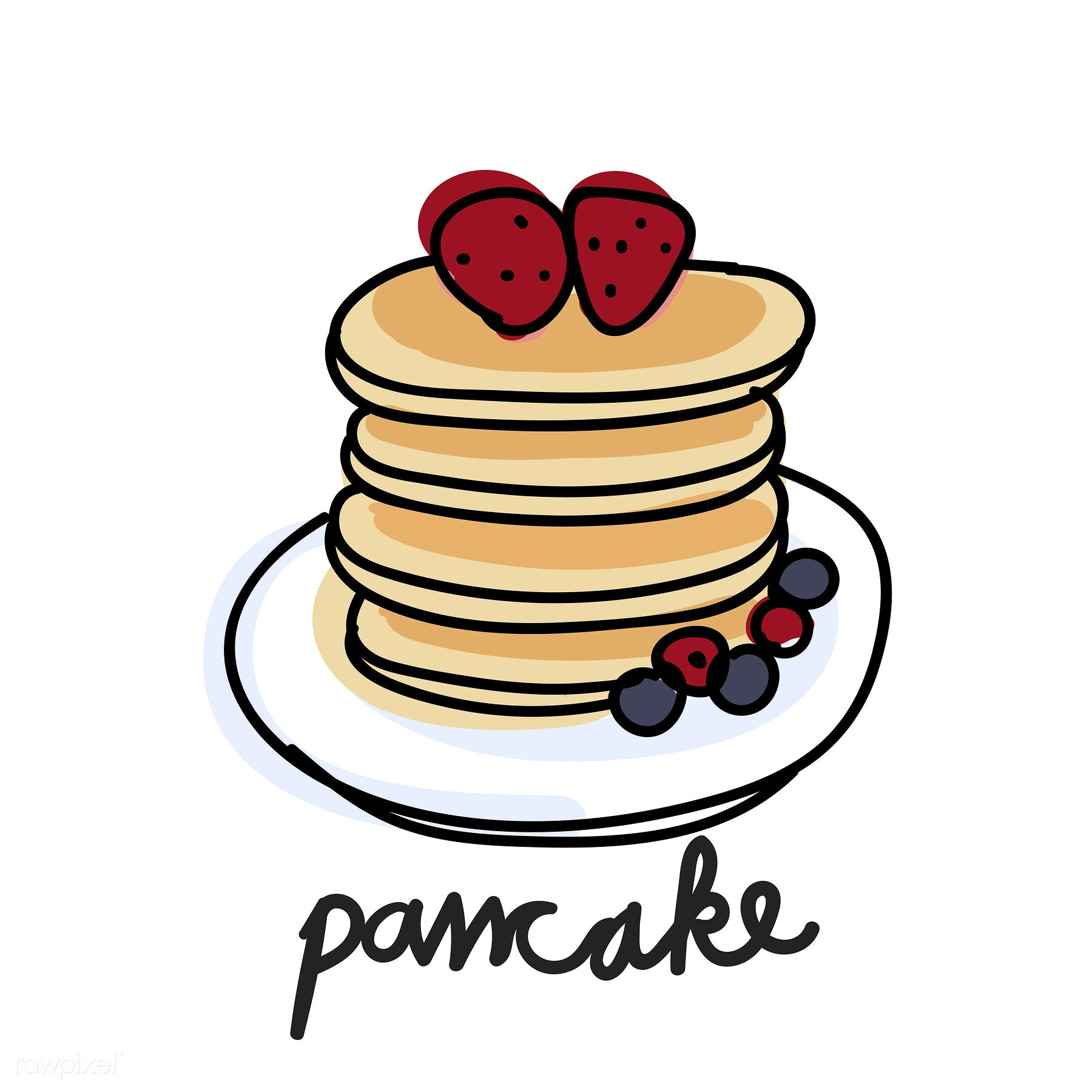 1800x1800 Illustration Drawing Style Of Pancake Free Food Doodle Icons
