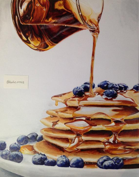 570x725 Pancakes Pancake Drawing, Pancakes And Blueberry