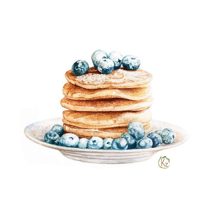 700x700 Pancakes And Blueberries For Breakfast On Behance Llustration