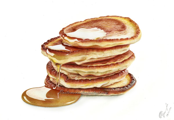 600x415 Pancakes And Honey Drawing By Rustamova