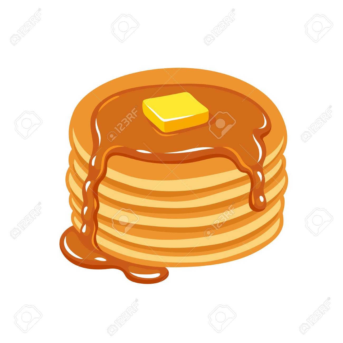 1300x1300 Stack Of Pancakes With Maple Syrup And Piece Of Butter. Hand